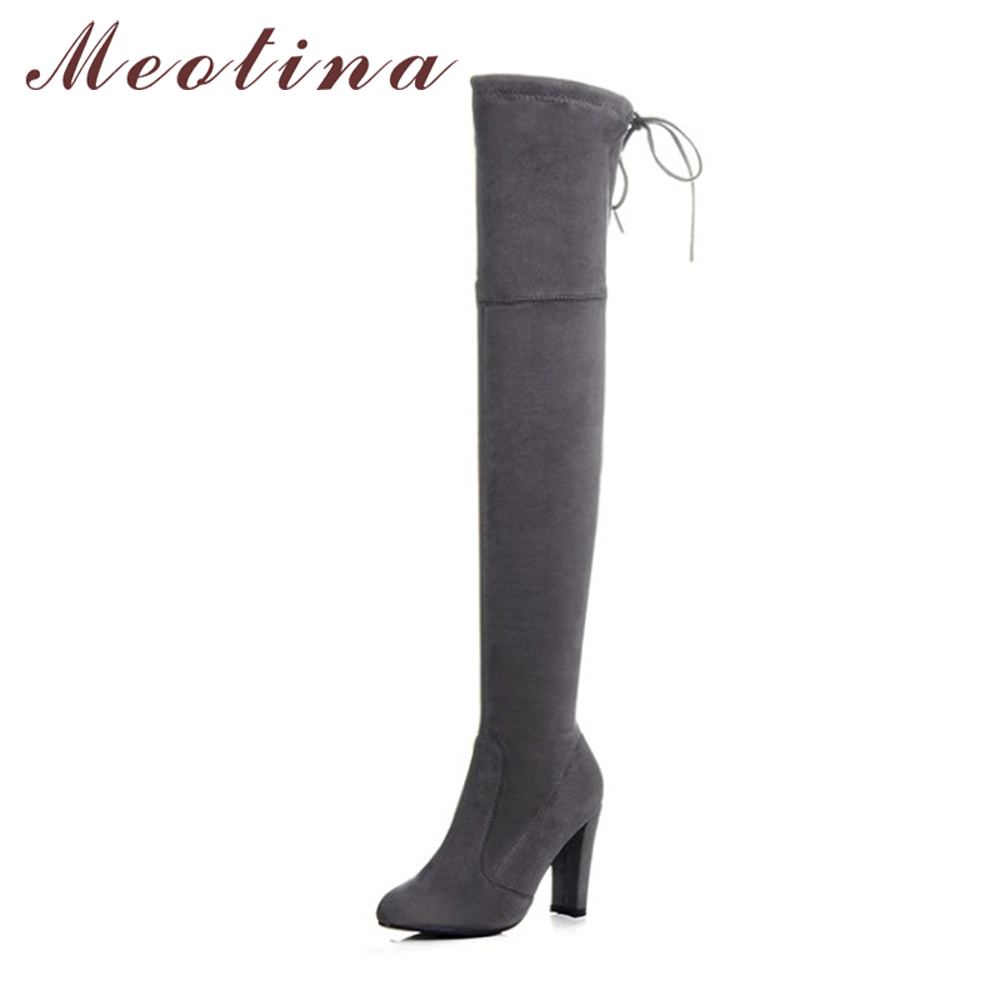 Meotina Thigh High Boots Women Winter Shoes Over The Knee Boots Bow Lace Up Stretch High Heel Long Boots Gray Black Big Size 43 2016 brand new winter sexy women thigh high fur boots black gray lady over the knee shoes chunky heel etc02 plus big size 10 43