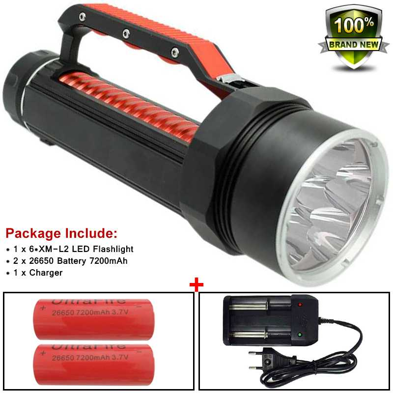 Powerful Led 10000 Lume Flashlight Underwater Hunting Diving Torch 26650 XM-L2 Scuba Diver Lamp Flashlight X900 Battery&Charger led cree xm l2 powerful scuba diving flashlight xml l2 archon hunting underwater light rechargeable torch 18650 or 26650 battery