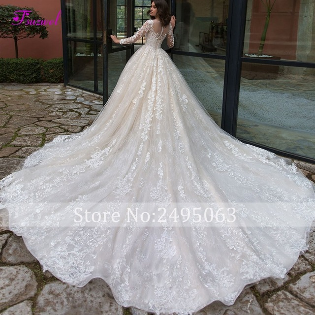 Chapel Train Lace A-Line Wedding Dress 2