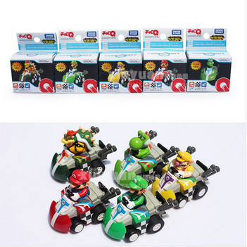 Super Mario Car Brothers Kart Game Bowser Luigi Waluigi Yoshi Pull Back Cars Figure Toys 5Pcs/Set Free Shipping