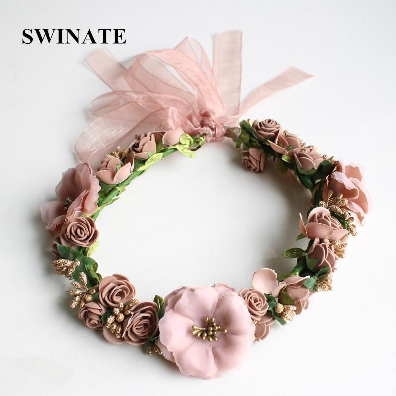 SWINATE Cinta para el pelo hecha a mano de flores de Bohemia Mujer - Accesorios para la ropa
