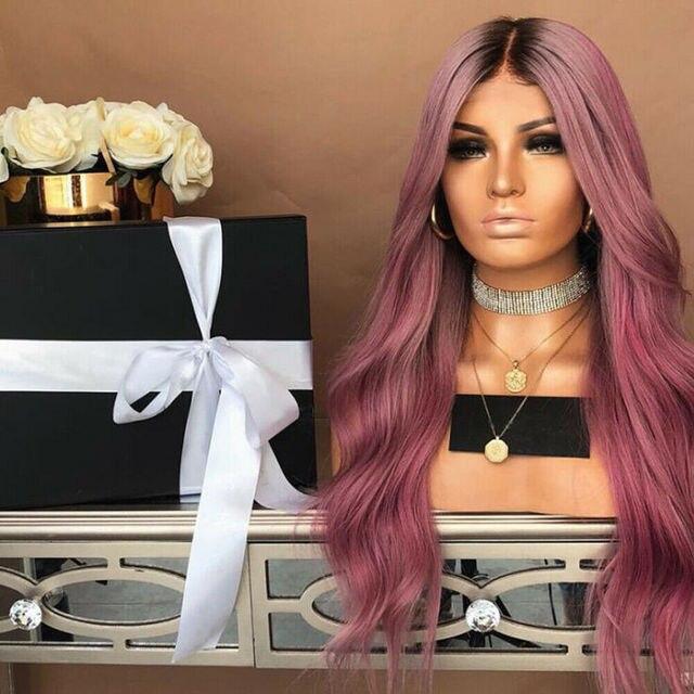 De moda de las mujeres pelo sintético peluca delantera de encaje cuerpo ondulado pelucas Ombre Rubio