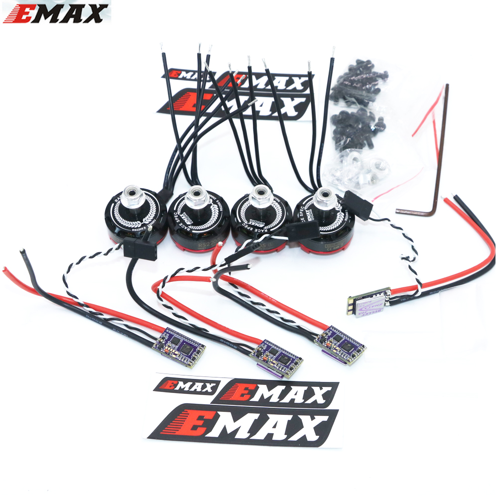 4set / lot Original EMAX RS2205S 2300KV RaceSpec børstefri motor med kugle 30A ESC til DIY mini drone QAVR250 Quadcopter