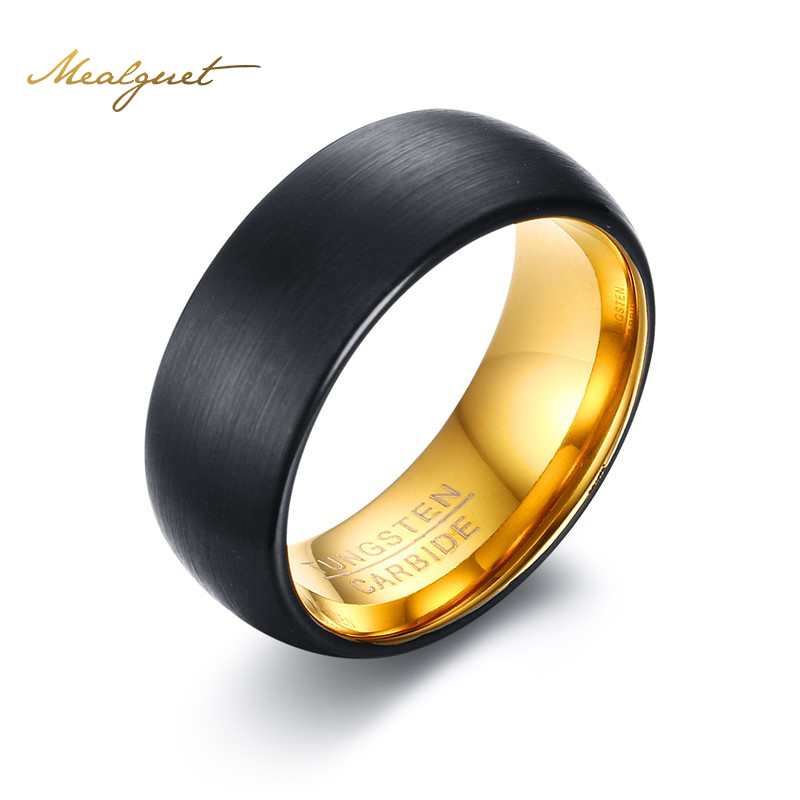 meaeguet tungsten men ring wedding brand 8mm wide gold colorblack tungsten carbide rings for - Cheap Wedding Rings For Men