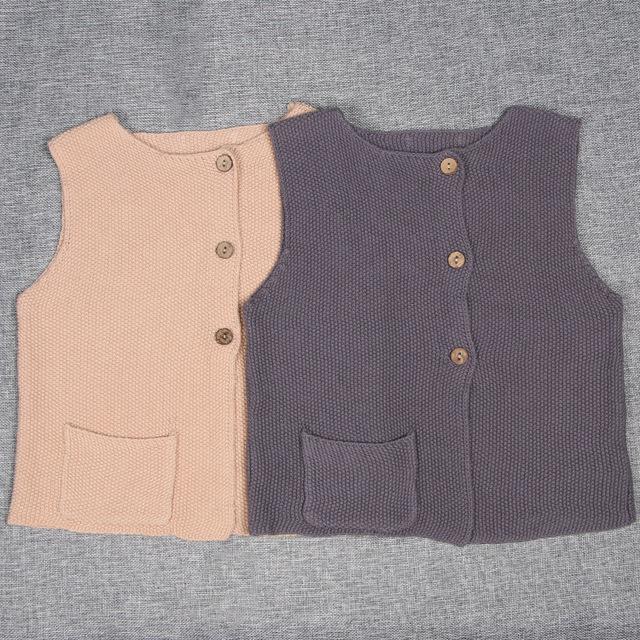 Roupas meninos meninas outono inverno crianças camisola colete 100% algodão o-pescoço sem mangas camisola de malha bebê camisola menino crianças