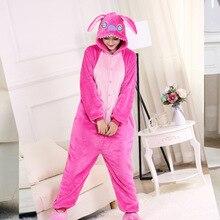 High Quality  Stitch Onesie Thicken Warm Soft Cartoon Pajama Adult Couple Women Men Overalls Sleepwear Blue Rose  Plus Size Suit