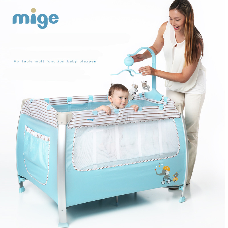 Mige meters baby bed multifunctional folding fashion portable game bed bb child bed baby cradle bed enhanced version of european style metal bed iron bed double bed pastoral style student bed 1 5 meters 1 8 meters