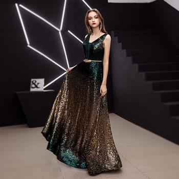 New arrival Elegant Evening Dress Formal vestido de noiva Party sereia beads prom gown luxury long dress sequins V-neck sexy