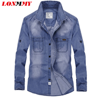 LONMMY Denim shirt men Cotton Long sleeve men dress shirts slim fit camisa social Jean shirt men Spring 2017 Brand Fashion M-3XL