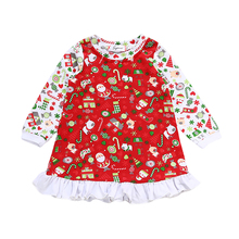 Christmas Toddler Kids Baby Girls Dress Long Sleeve Princess Party Pageant Dresses Gown for Xmas