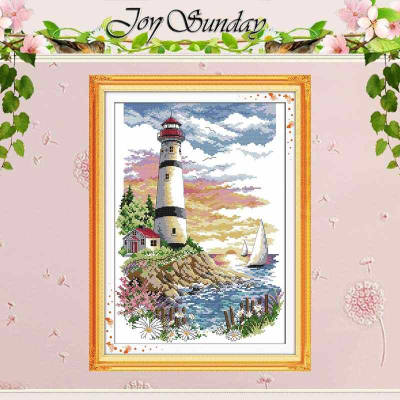 Lighthouse (4) Patterns Counted Cross Stitch 11CT 14CT Cross Stitch Set Wholesale Scenery Cross-stitch Kit Embroidery Needlework