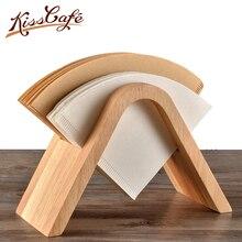 Bamboo Coffee V60 Filter Paper Holder Simple Filters Dispenser Rack Shelf Storage Tissue Box Tool