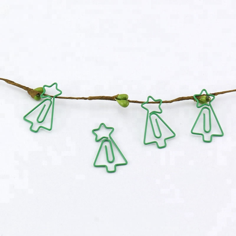 TUTU  Free Shipping 15pcs/lots Green Color Decorative Custom Christmas Tree Shaped Paper Clip H0227