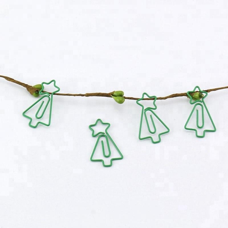 TUTU  Free Shipping 15pcs/lots Green Color Decorative Custom Christmas Tree Shaped Paper Clip H0227