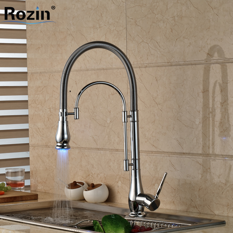 цены LED Color Chrome Finished Kitchen Faucet Single Handle with Bracket Bar LED Light Kichen Mixer Taps Deck Mounted