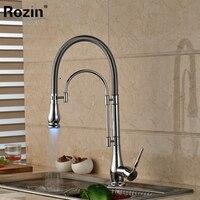 LED Color Chrome Finished Kitchen Faucet Single Handle With Bracket Bar LED Light Kichen Mixer Taps