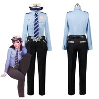 OW Game D VA DVA Hana Song Cosplay Costume Outfit Police Girl Uniform Suit Halloween Carnival