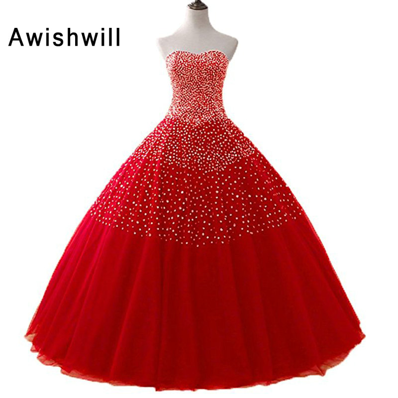 New Sparkly Sweetheart Beaded Ball Gown Prom Dresses 2018 Real ...
