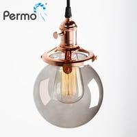 PERMO 5.9 ''Glas Bal Lamp Vintage Hanger Plafondlamp Moderne Hanglampen E27 Retro Hanglamp Lights Armatuur