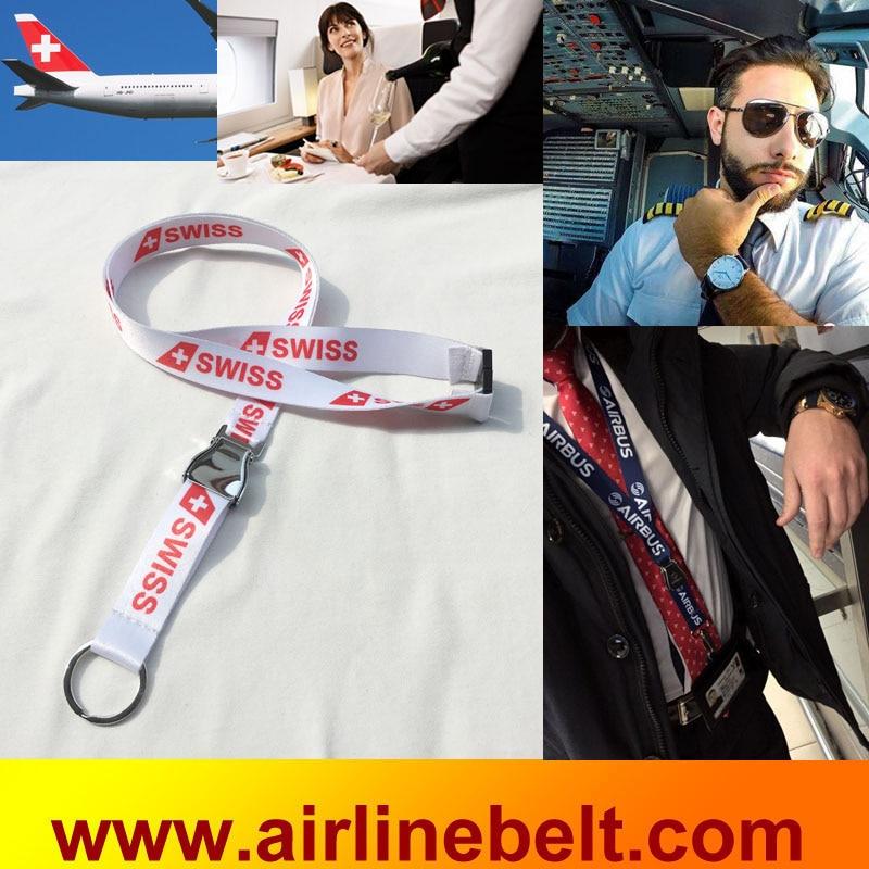 0482e2edb9c690 Swiss international airline airplane safety seat belt buckle lanyards key  chains keyring strap for aviator flying