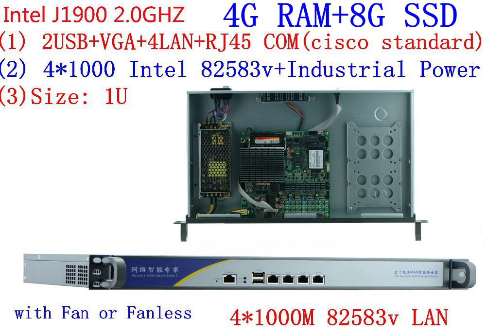 4G RAM 8G SSD J1900 2.0GHZ Pfsense Firewall Router Network 1U Quad Core Desktop Security Control Of The Computer 4*1000M LAN