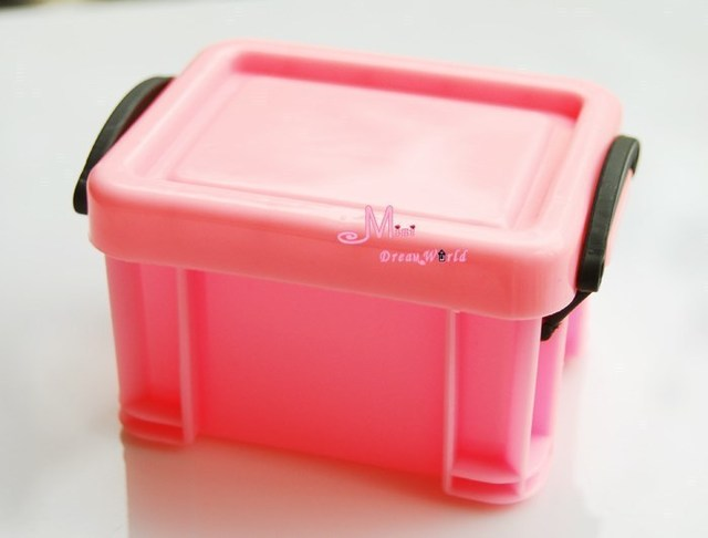 Dolls Toys For Girls PINK Plastic Storage Trunk Toy Box 1/6 Dollhouse  Miniature Furniture