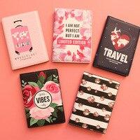 Mode Mannen Vrouwen Reizen Lederen Paspoorthouder Card Case Protector Cover Bloemen Portemonnee Zakken Bloem Paspoort Cover voor meisjes