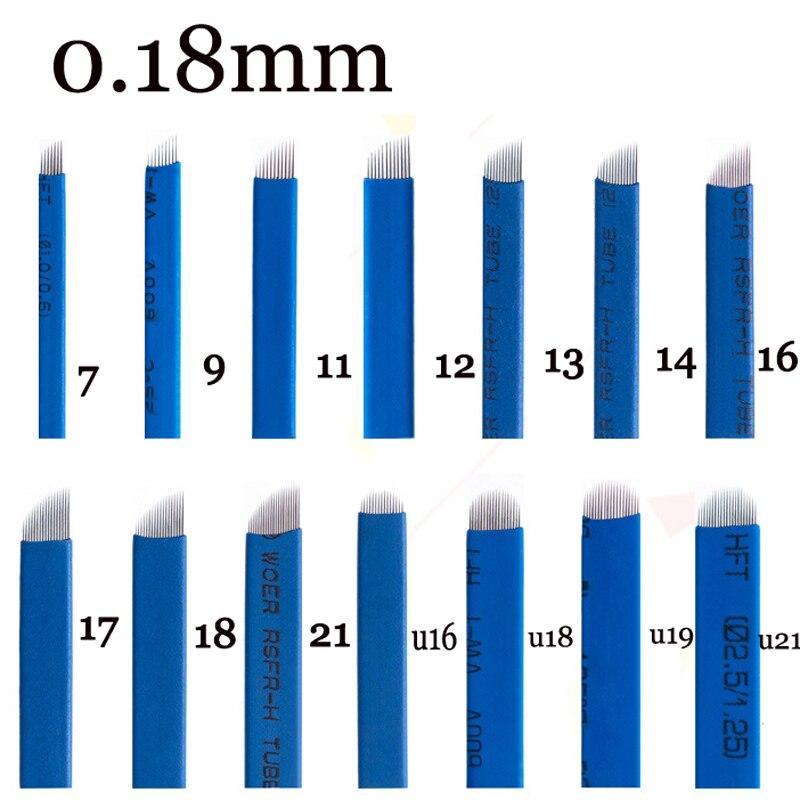 0,18mm Lamellen Agulhas Tebori Microblading Nadeln Permanent Make-up Tattoo Nadel 7 9 12 14 17 21 Klingen Für Augenbraue Manuelle Stift SchöN Und Charmant