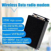 25 W 150 MHz VHF วิทยุโมเด็มไร้สาย RS232 RS485 tranceiver 115200bps ไร้สายเครื่องส่งสัญญาณและตัวรับสัญญาณ 433 MHz โมดูล