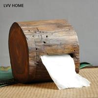 LVV HOME retro crafts wood tissue storage box/natural Handmade Wall mounted bathroom paper towel tube