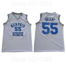 203358df8 Ediwallen Men 55 Lorenzen Wright College Jerseys Memphis State Tigers  Basketball25 Penny Hardaway Jersey Blue White