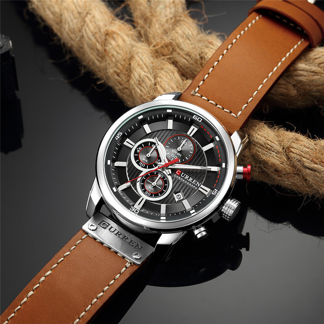 CURREN Men's Luxury Casual Chronograph Waterproof Date Genuine Leather Watches 2