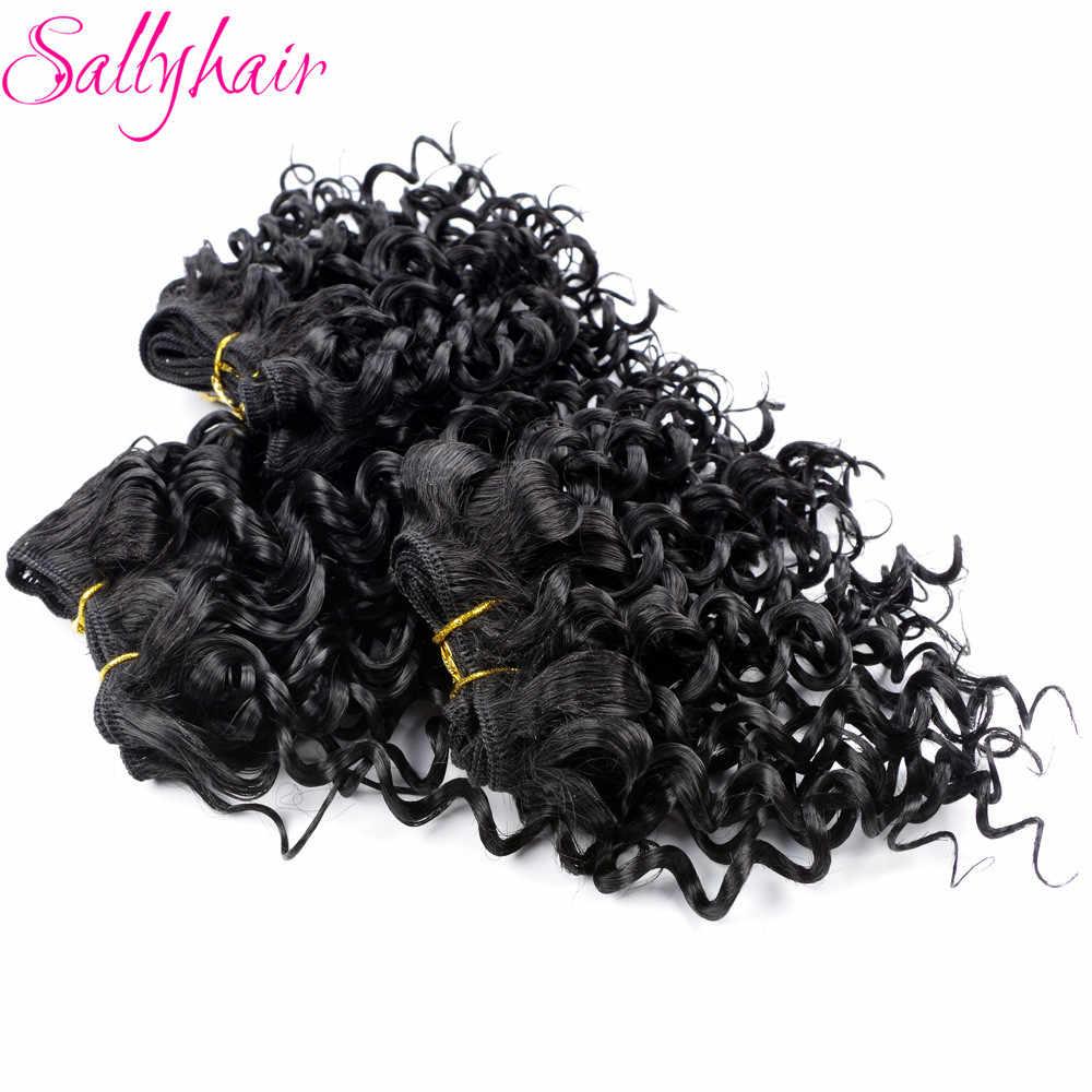 Sallyhair афро кудрявый вьющиеся крючком волосы ткань черный Цвет высокое Температура утка Синтетические пряди для наращивания волос 3 шт./лот волос переплетений