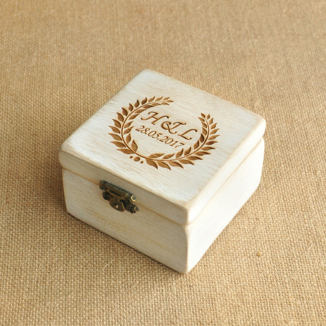 7348c3f1fa Personalized Engraved Wooden Ring Box Custom Your initials and Date Wedding Ring  Bearer Pillow Box