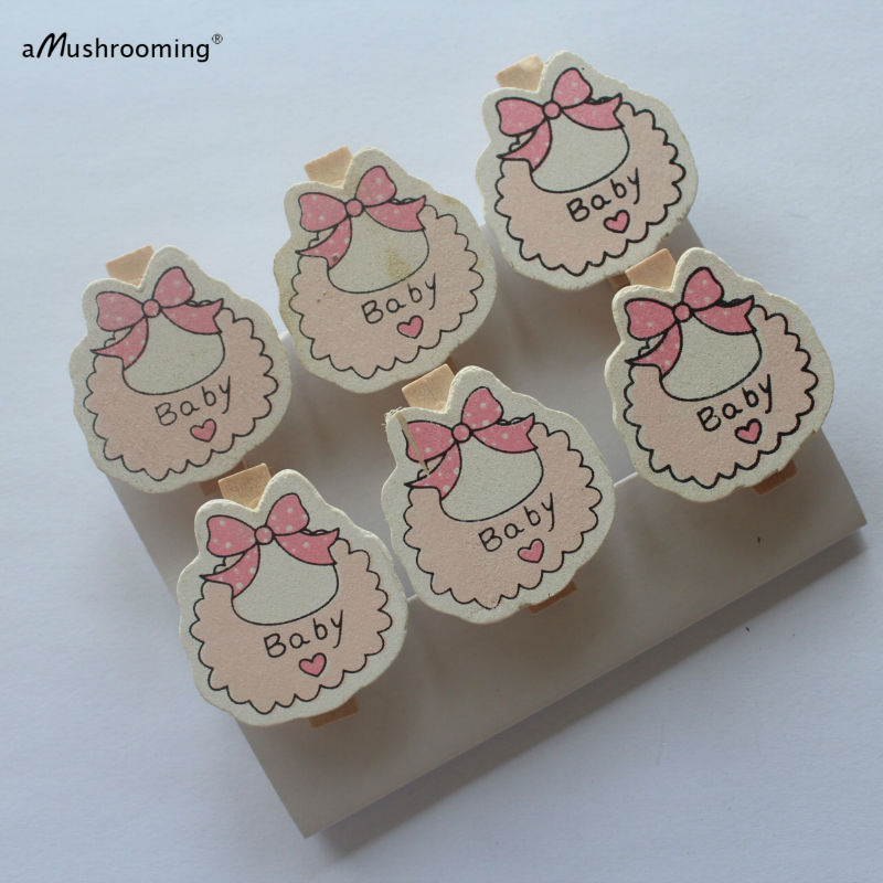 X6 Wooden Mini Clothespins Baby Shower Decorations Newborn Baby Girl