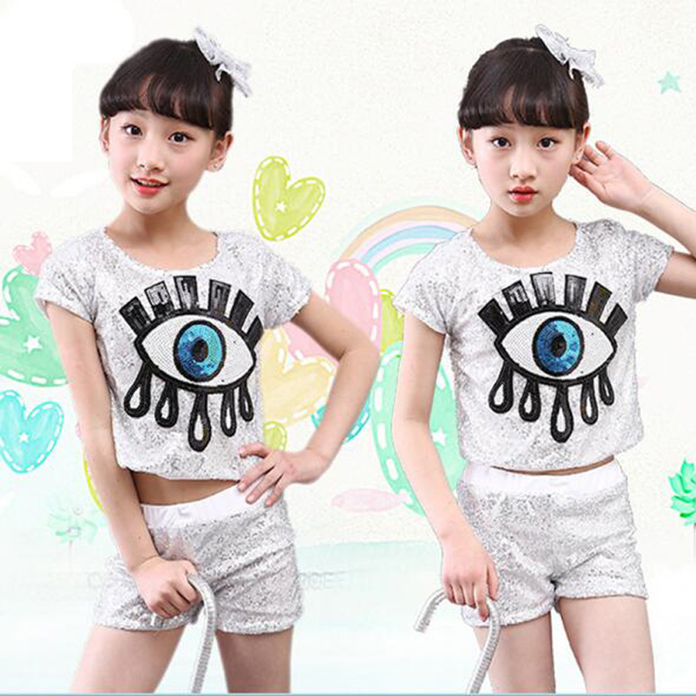 2017 New Eye Tears Image Sequined Little Girl Jazz Dance Clothes Ballroom Suit Children Stage Perfomance Costume Size 110-140cm
