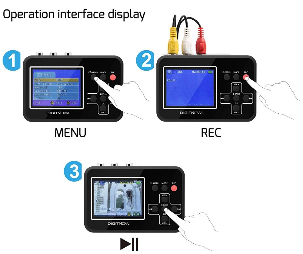 Video Capture VHS to Digital Converter Records Video Tapes to Memory Card