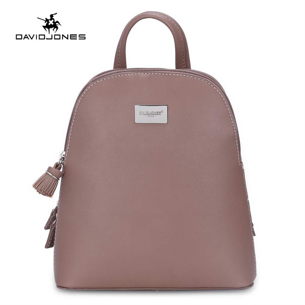 DAVIDJONES women backpacks faux leather female shoulder bags big lady solid softpack girl brand teenager back