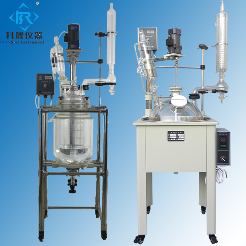 10l Double Jacketed Agitated electric glass Chemistry laboratory Reaction kettle Liquid mixing reactor 10l batch glass reactor glass lined jacketed reactor vessel for chemicaland pharmaceuticals industry with condenser with ptfe