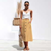 Sexy Pockets Button Solid Women Skirts Long A-Line High Waist Skirt For Female  2019 Summer Fashion Beach Party Clothes