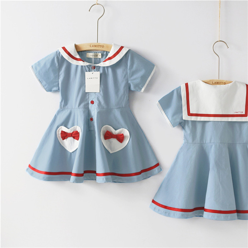 US Summer Toddler Baby Girls Party Dress Navy Blue Sailor Sundress Clothes 0-5Y