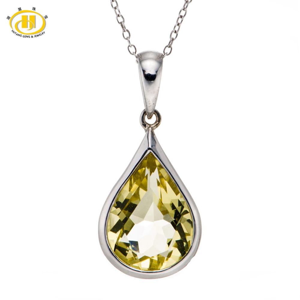 Hutang Stone Jewelry Natural Teardrop Lemon Quartz Solid 925 Sterling Silver Pendant Necklace 18 Fine Gemstone