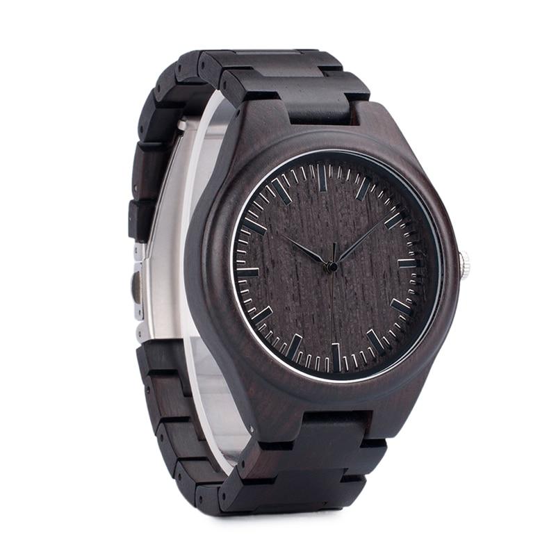 BOBO BIRD Hombre Negro Ébano Relojes de madera Reloj de pulsera de - Relojes para hombres - foto 3