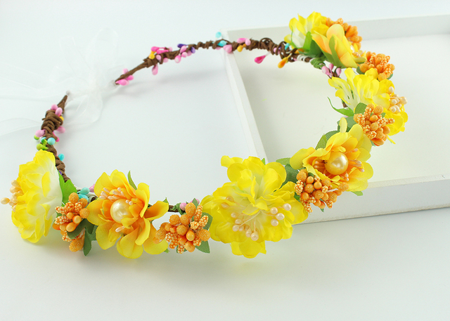 Handmade Yellow Fabric Flower Crowns Headband Bridal Hair Flower