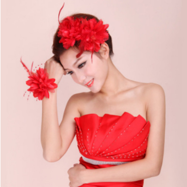 Us 7 92 20 Off 10 Pieces Lot Beautiful Women Girl Silk Artificial Flowers Hair Clip With Babysbreath Feather Wedding Party Hair Headdress On
