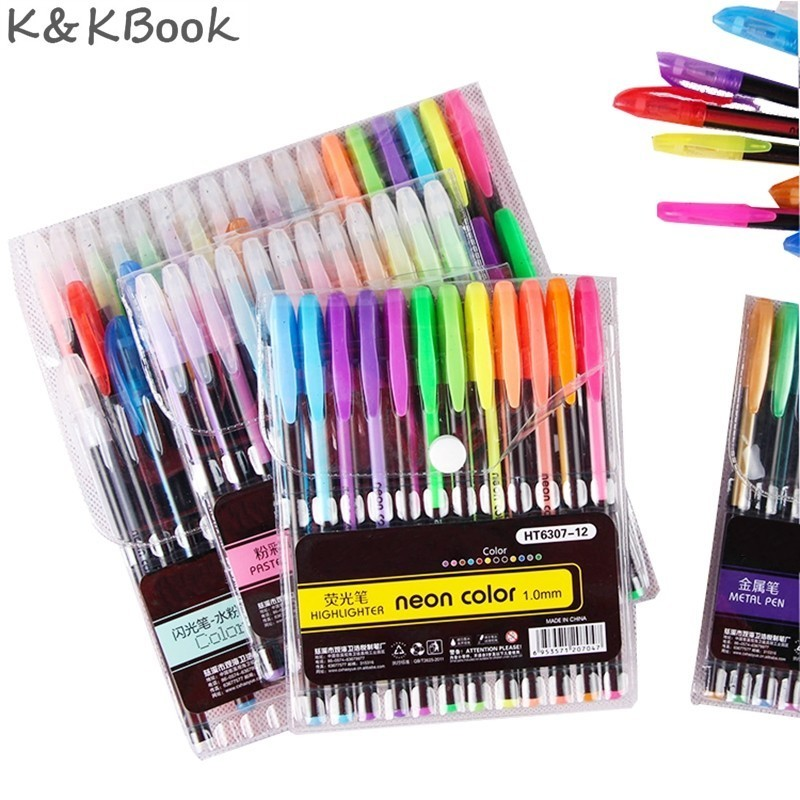 12 24 36 48 Colors Hot Gel Pen Metallic Marker Pens Neon Color Sketch Pen Creative Ballpoint Pen Highlighter Material Escolar 6pcs set german staedtler gel pen fiber pen signing pen ballpoint pen mechanical pencil highlighter pen marker 34 sb6b 0 5mm