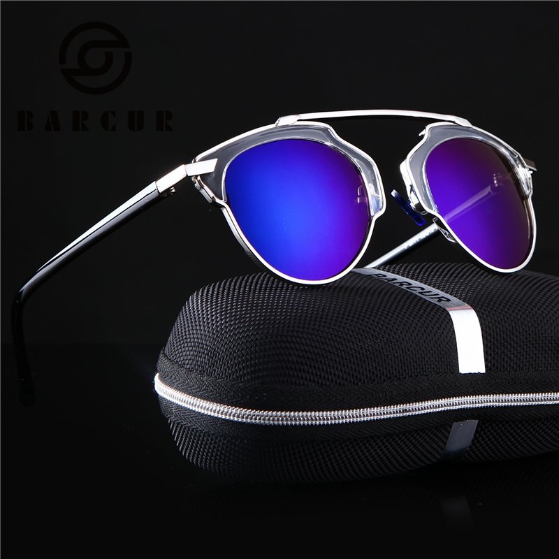 BARCUR Split Sunglasses Real Lady Brand Butterfly Alloy Frame Specialties Polaroid Lens Girls Women So D
