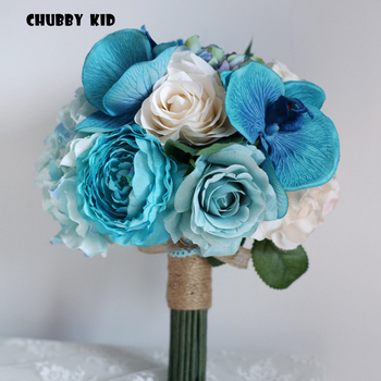 100% High quality vintage style bridal holding flowers Artificial Phalaenopsis Hydrangea Rose Berry wedding bouquet blue color