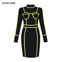 Bandage Dresses 2019 New Arrivals Long Sleeves Party Dress Black and Yellow  2 Color Patchwork Vestidos bf8d420b6377