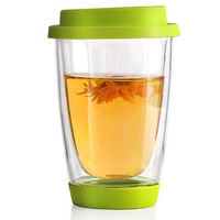 350ml Heat Resistance Glass Cup With Silicon Cover And Bottom Double Wall Glass Mugs Coffee Milk